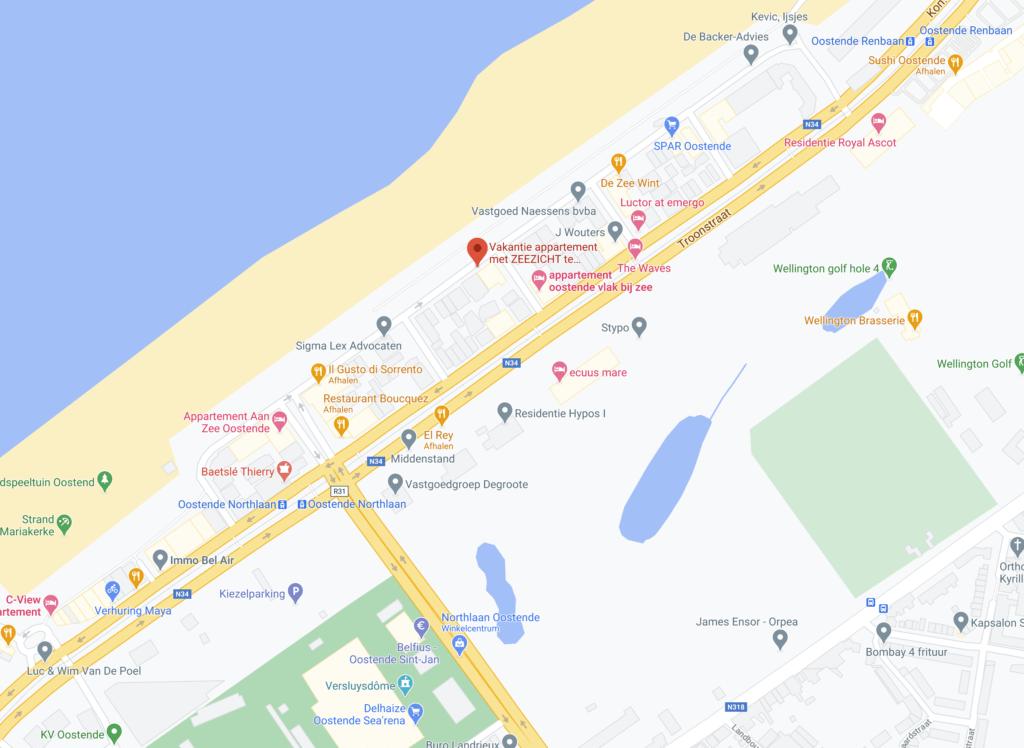 Oostende winkels Google Maps