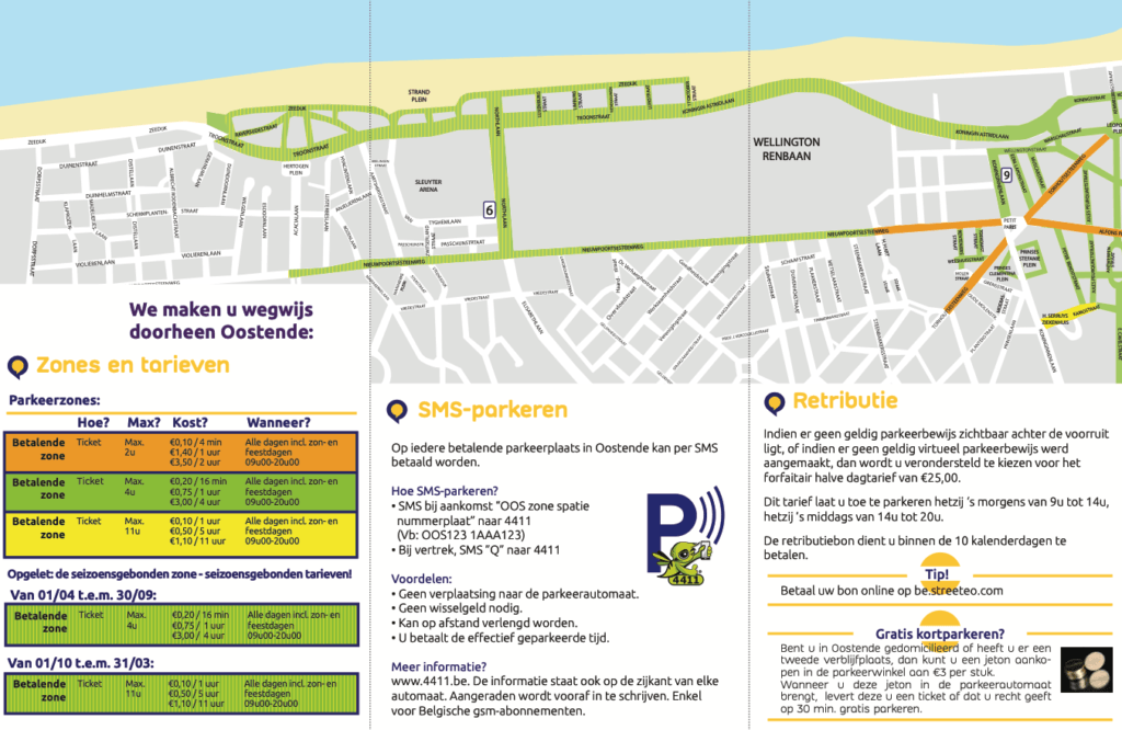 Parkeren tweede auto stratenplan tarieven Oostende